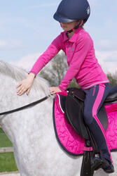 Kinderpolo met lange mouwen Horse Riding ruitersport fuchsia - 1049166