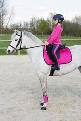Kinderpolo met lange mouwen Horse Riding ruitersport fuchsia - 1049170