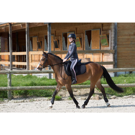 Tapis de selle quitation poney et cheval schooling noir fouganza - Tapis decathlon equitation ...