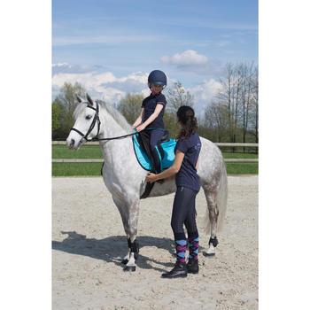 Polo manches courtes équitation femme logo ROYAL bleu marine et chiné - 1049190