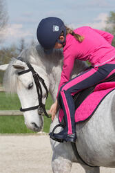 Kinderpolo met lange mouwen Horse Riding ruitersport fuchsia - 1049373