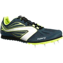 Atletiekschoenen met spikes voor veldlopen marineblauw/geel