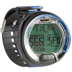 Reloj ordenador de inmersión con botella Leonardo negro/azul