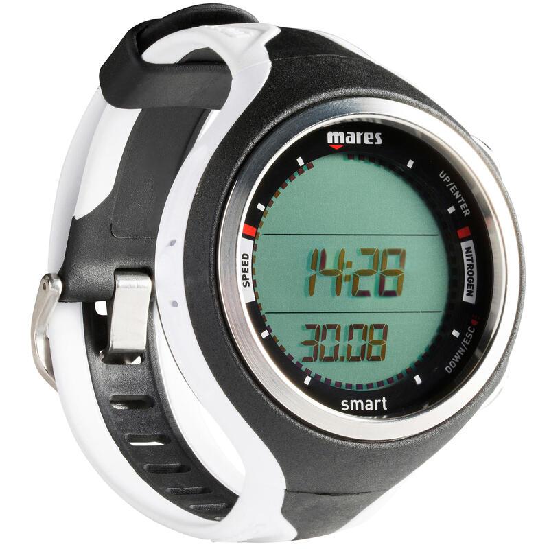 Ordenador De Buceo y Apnea Mares Smart Blanco y Negro formato Reloj.