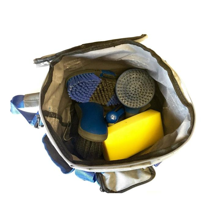 Sac de pansage + brosses équitation LAMI-CELL bleu marine et gris - 1050205