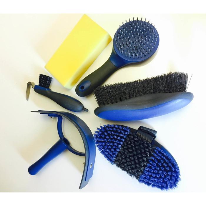 Sac de pansage + brosses équitation LAMI-CELL bleu marine et gris - 1050208
