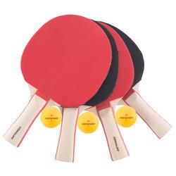 Tafeltennisset, 4 tafeltennisbatjes en 3 ballen 2* - 1051906
