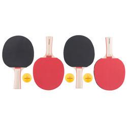 Tafeltennisset, 4 tafeltennisbatjes en 3 ballen 2*