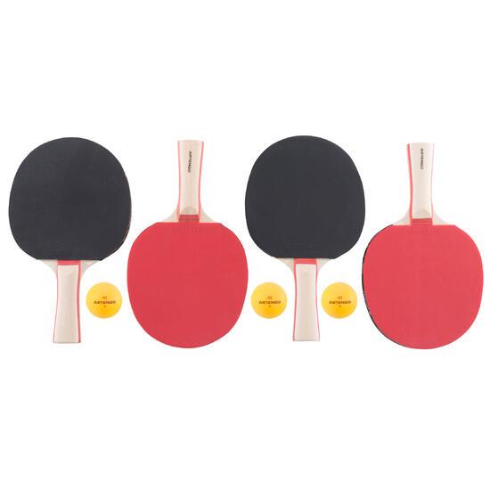Tafeltennisset, 4 tafeltennisbatjes en 3 ballen 2* - 1051913