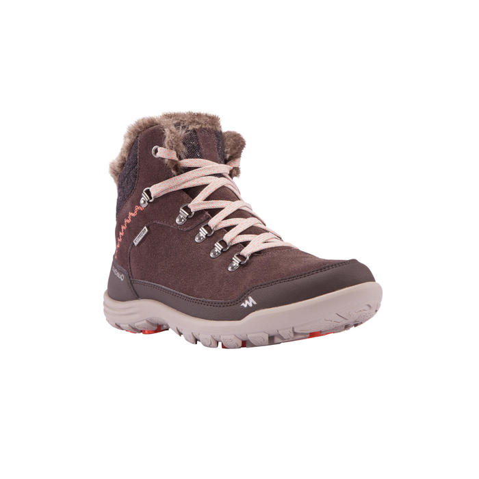 Chaussures de randonnée neige femme SH500 chaudes et imperméables Marron
