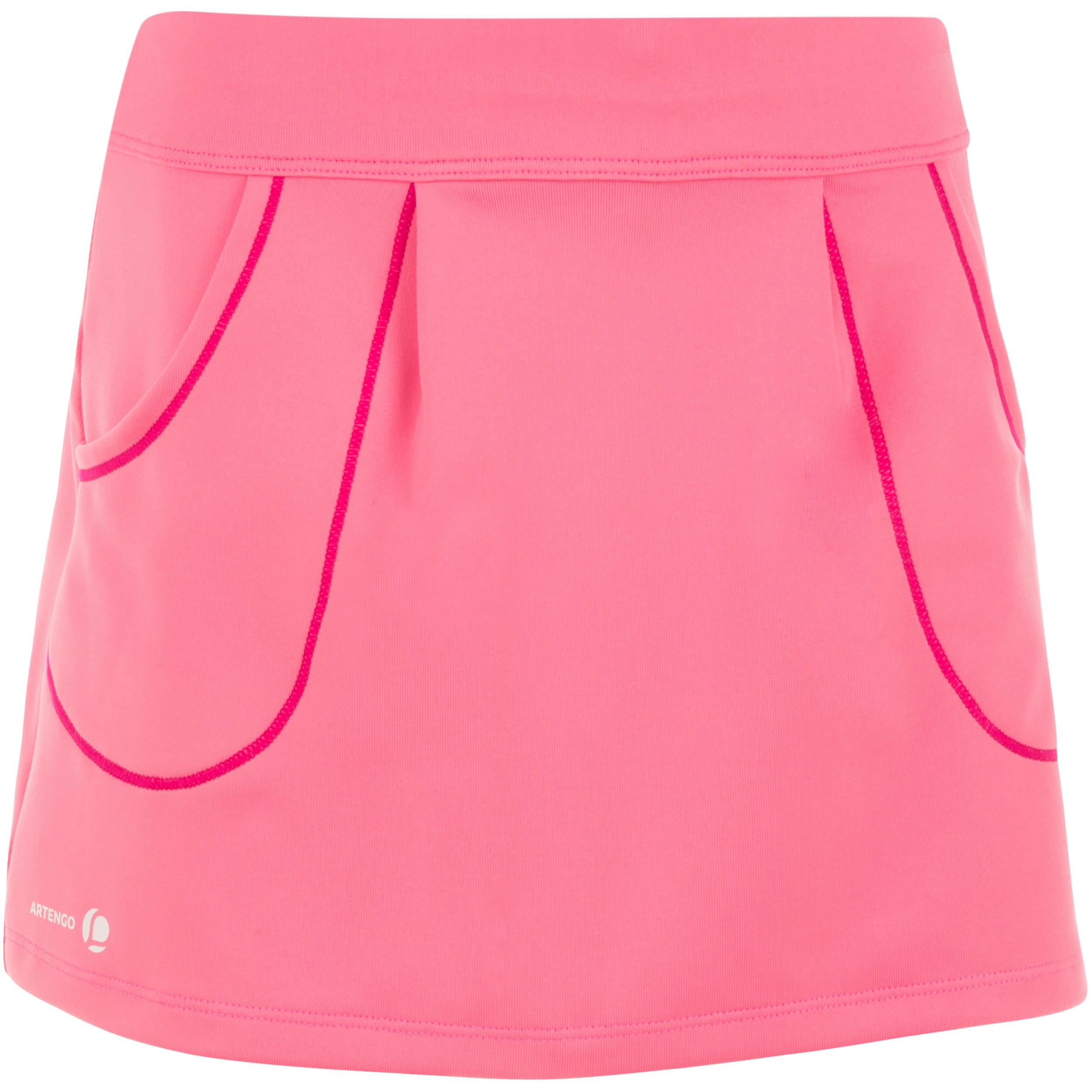 Pocket 100 Girls' Tennis Badminton Padel Table Tennis Squash Skirt - Pink