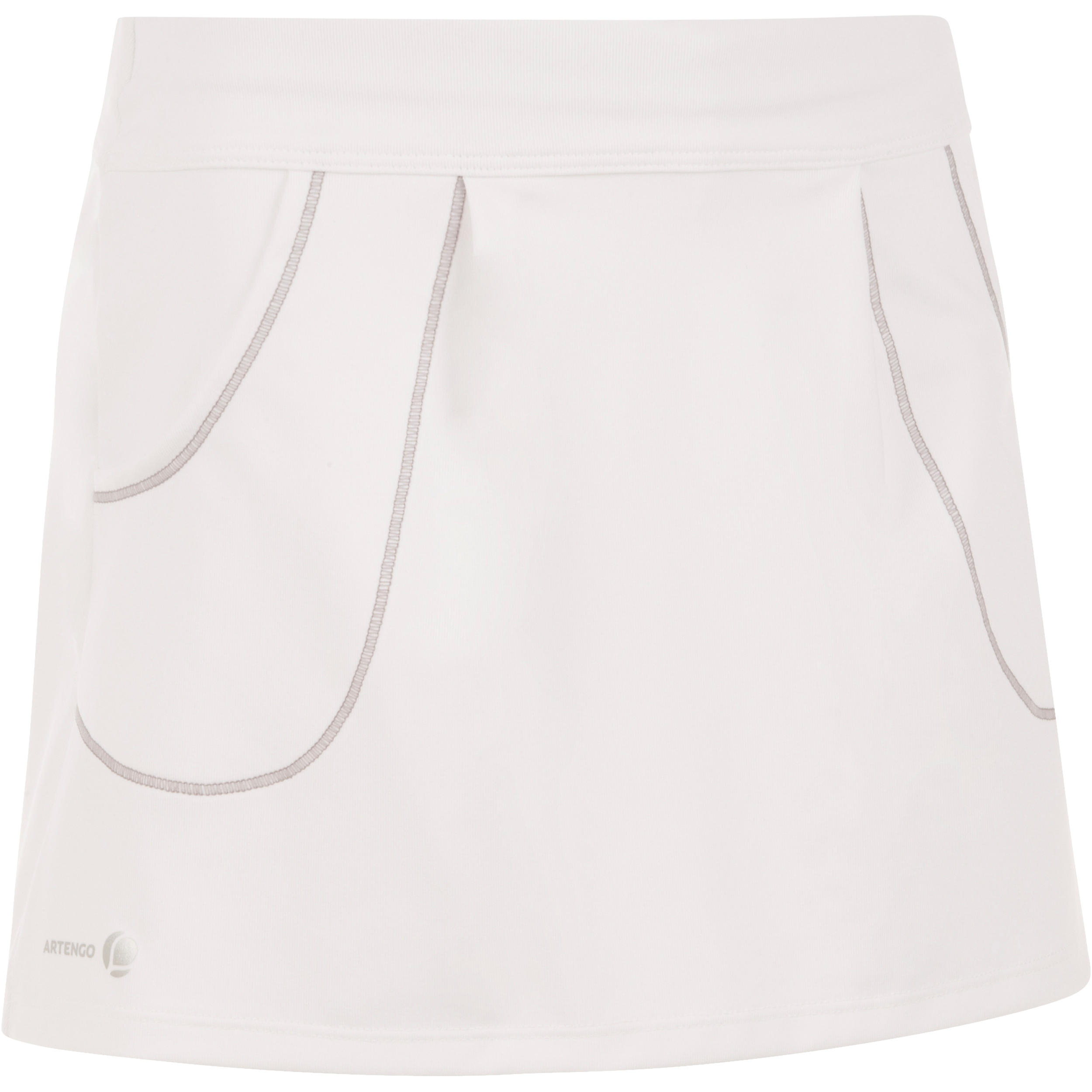 Pocket 100 Girls' Tennis Badminton Paddle Table Tennis Squash Skirt - White