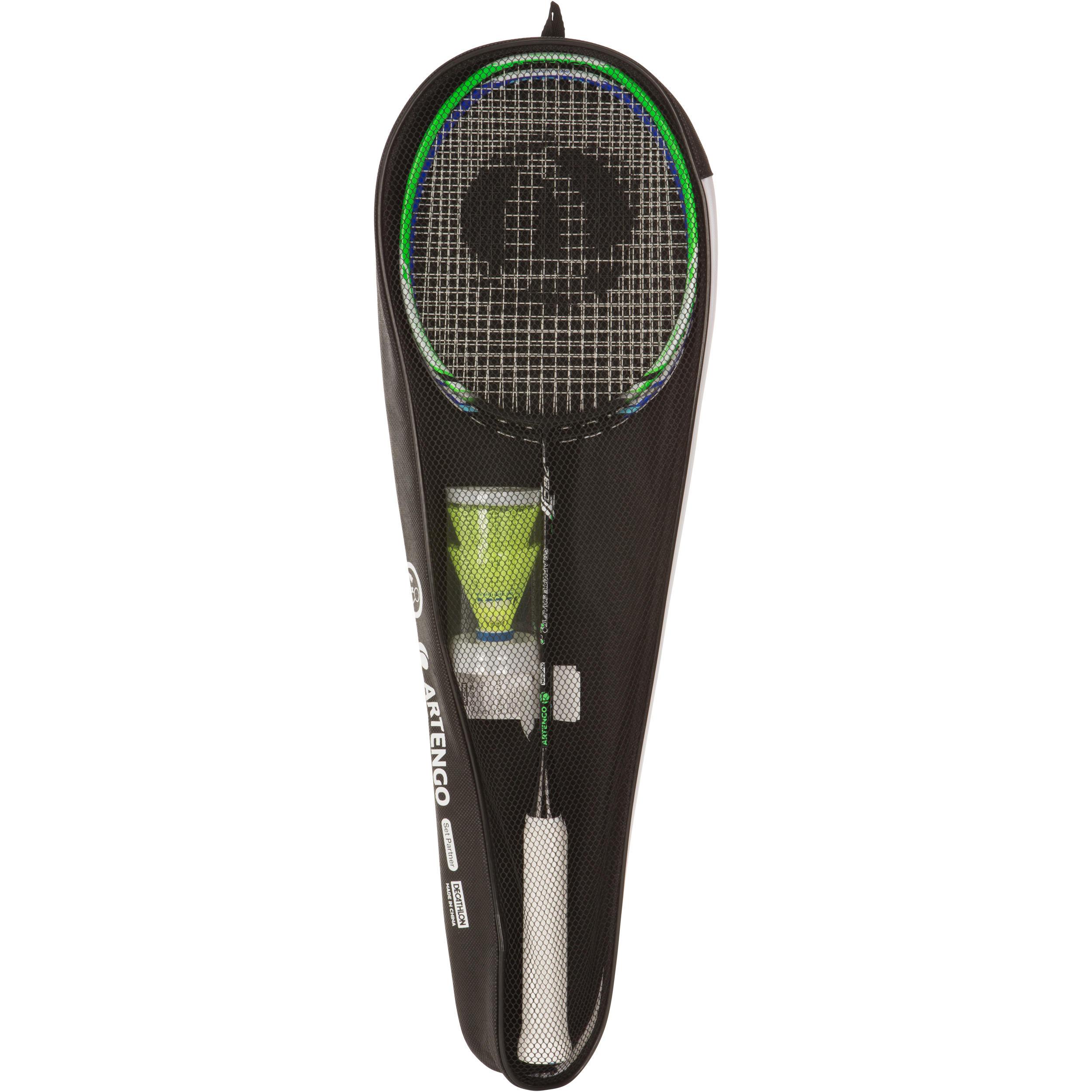 Artengo Badmintonrackets voor volwassenen - set Partner - blauw/groen