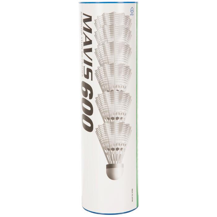 Badmintonshuttles in plastic Mavis 600 x 6 stuks wit