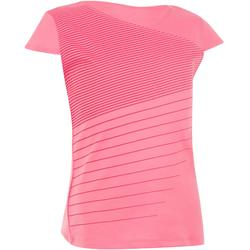 T SHIRT FILLE SOFT ROSE 500 TENNIS BADMINTON PADEL PING PONG SQUASH