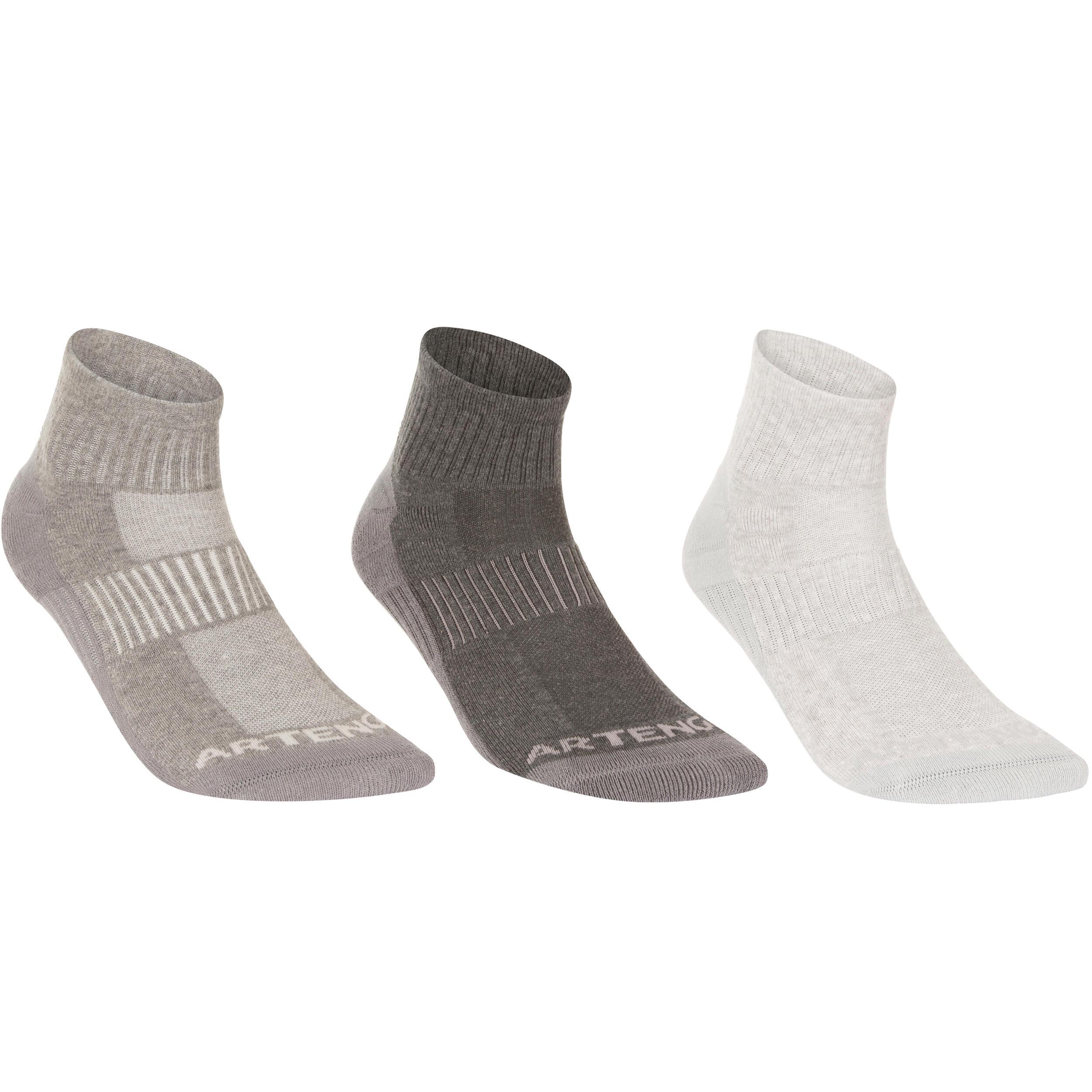 Socks RS 500 Adult Mid Tri-Pack - Mottled Grey