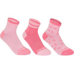 Halfhoge sportsokken kinderen Artengo RS 160 roze 3 paar