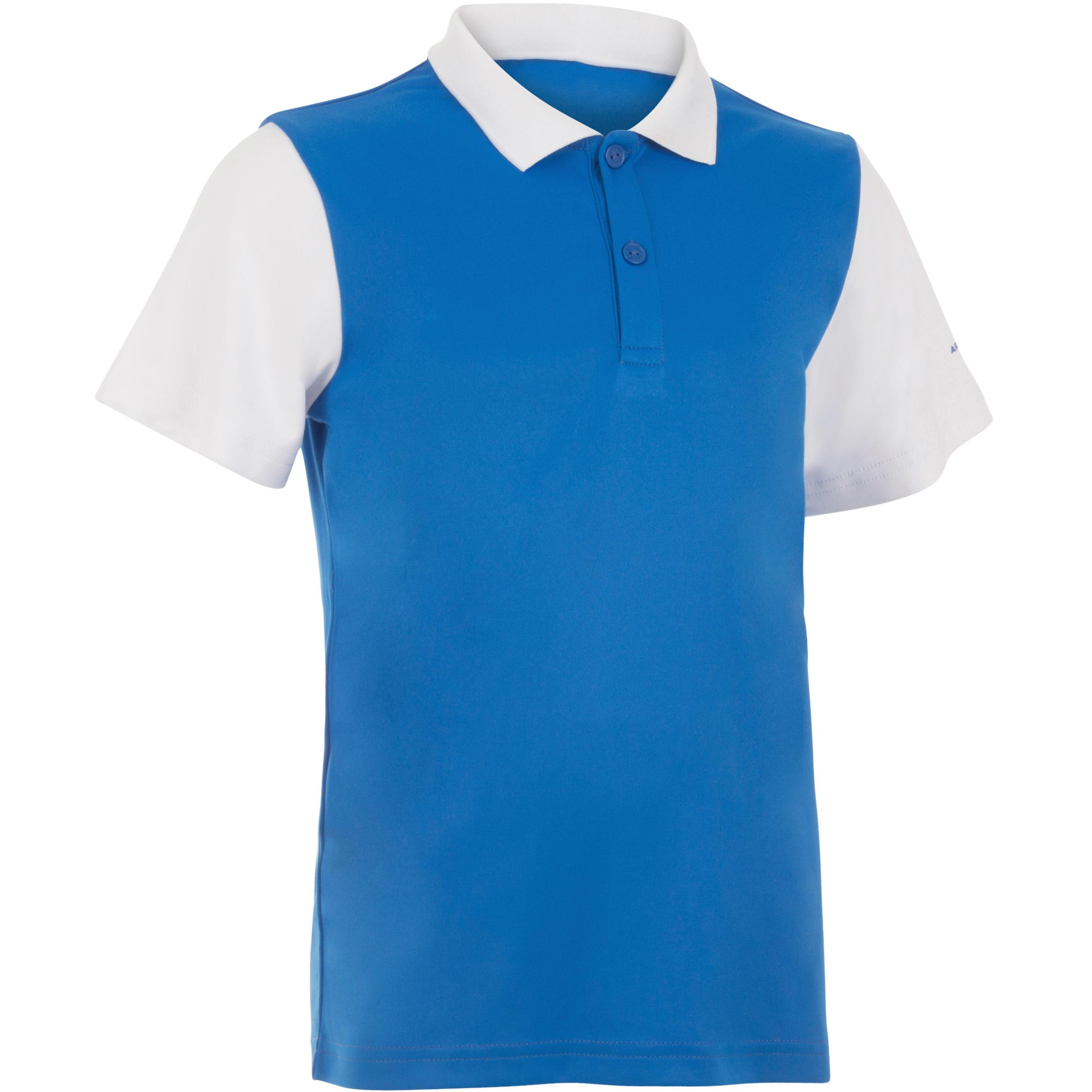 Artengo Jongenspolo Soft blauw/wit/blauw 500 tennis/badminton/tafeltennis/padel