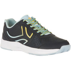 Tennisschoenen dames TS 830 gravel blauw/geel
