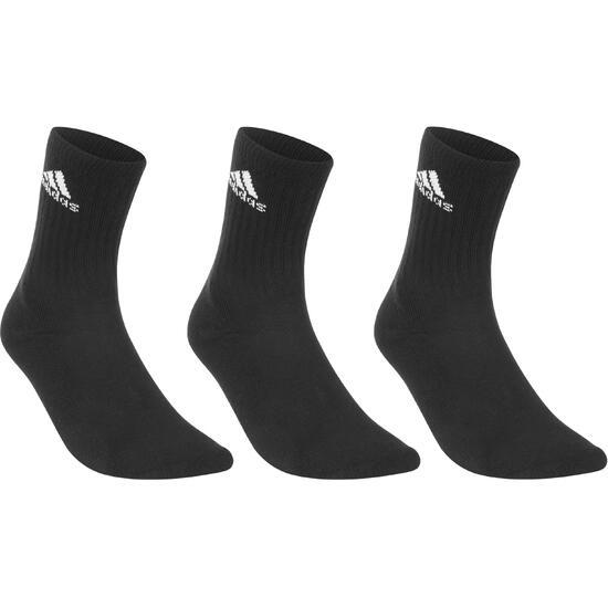Sportsokken volwassenen basic hoog, 3 paar zwart - 1052835