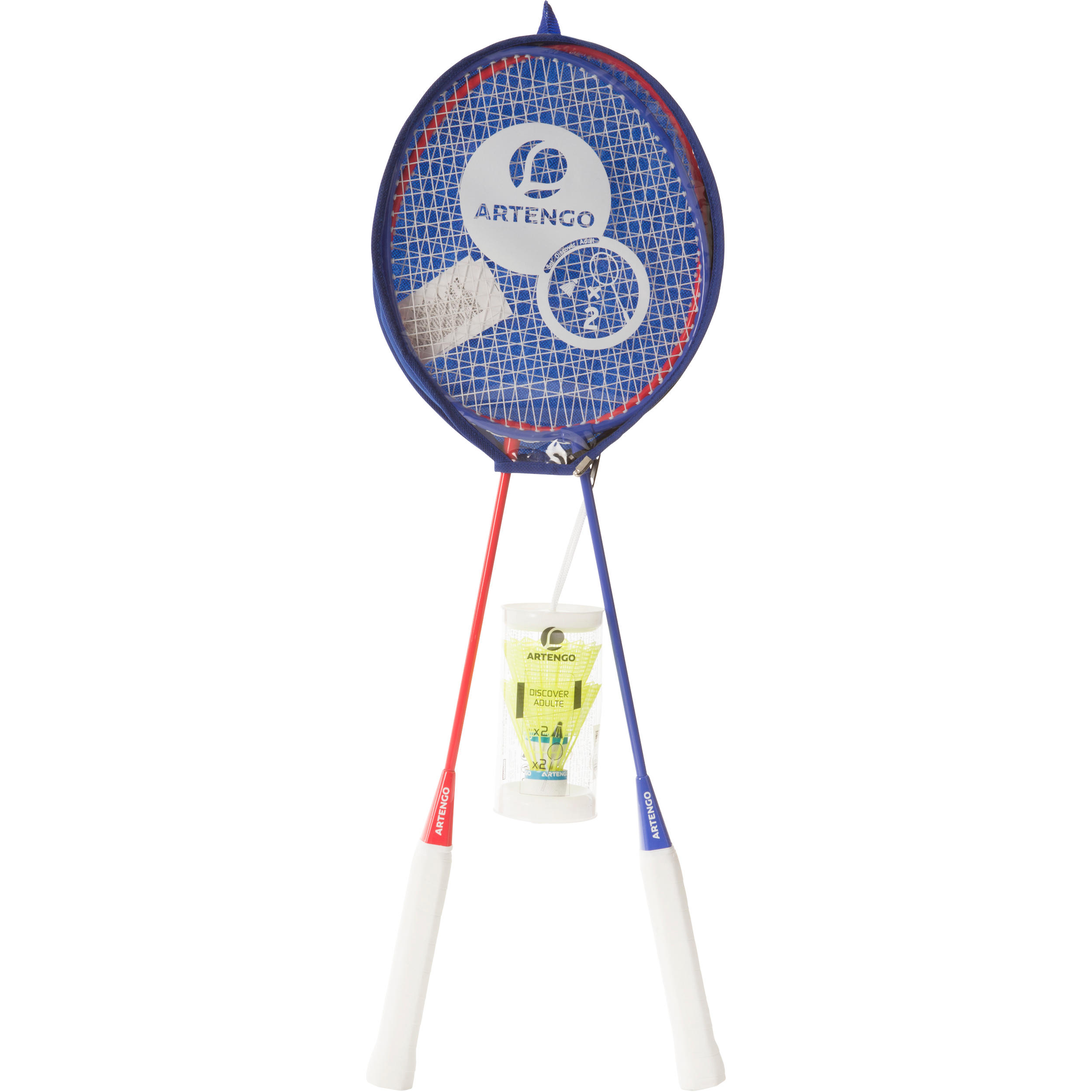 Adult Badminton Rackets Set - Blue/Red