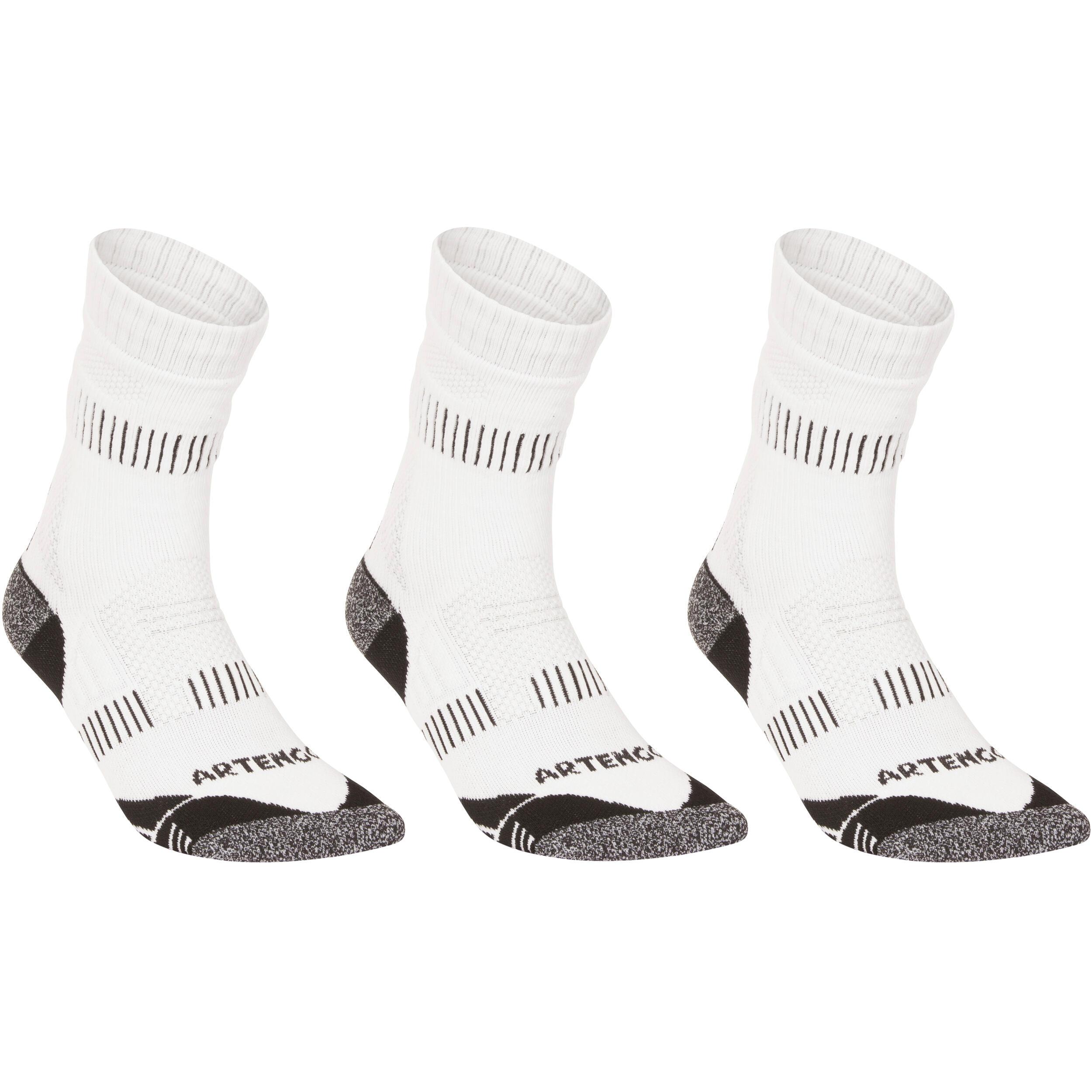 Artengo Hoge sportsokken voor volwassenen Artengo RS 900, wit grijs, set van 3 paar