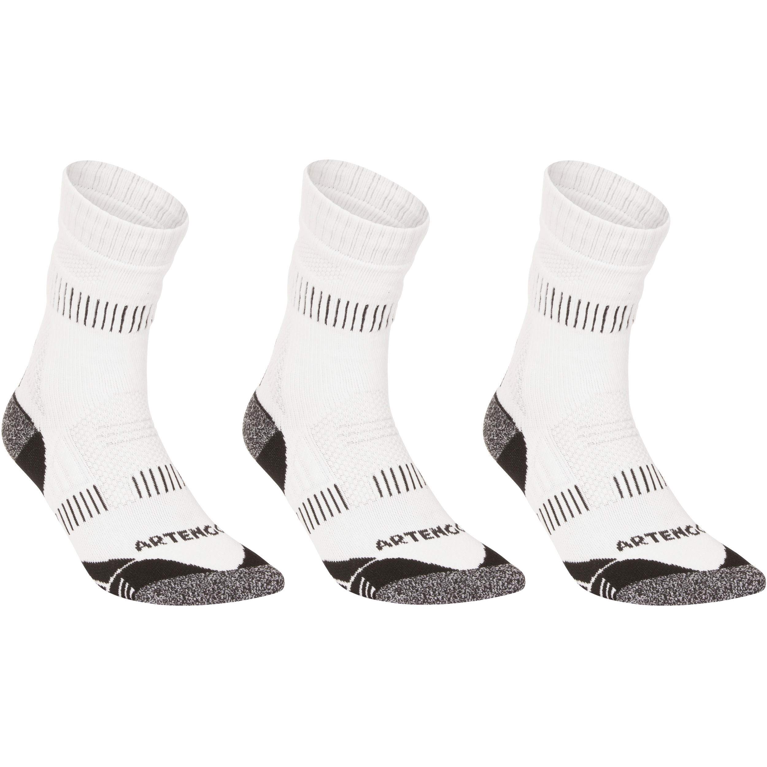 RS 900 Adult High Sport Socks 3-Pack - White/Grey