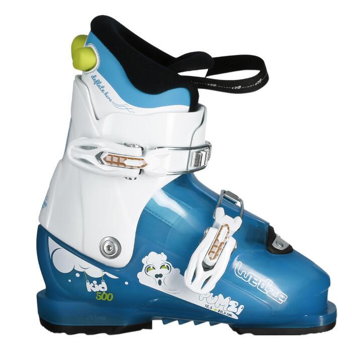 兒童滑雪靴PUMZI 500藍色