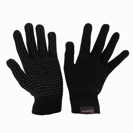 Adult Knitted Horse Riding Gloves - Black