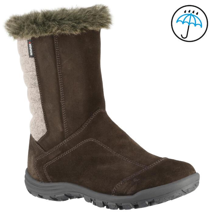 Bottes de randonnée neige Enfant SH900 chaudes imperméables cuir Cafe - 1055599
