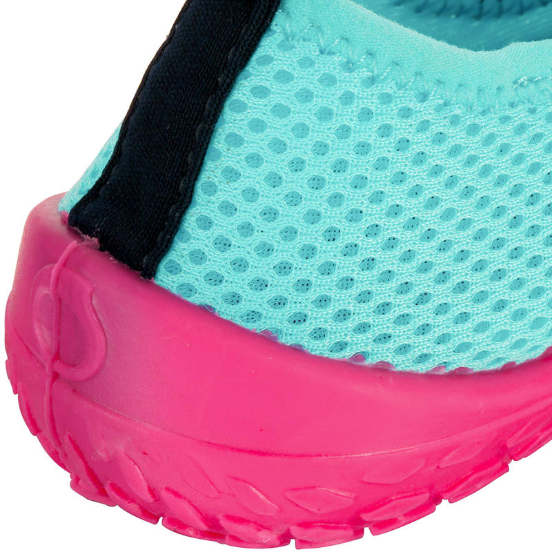 Zapatillas acuáticas Aquashoes 100 niños turquesa y rosadas