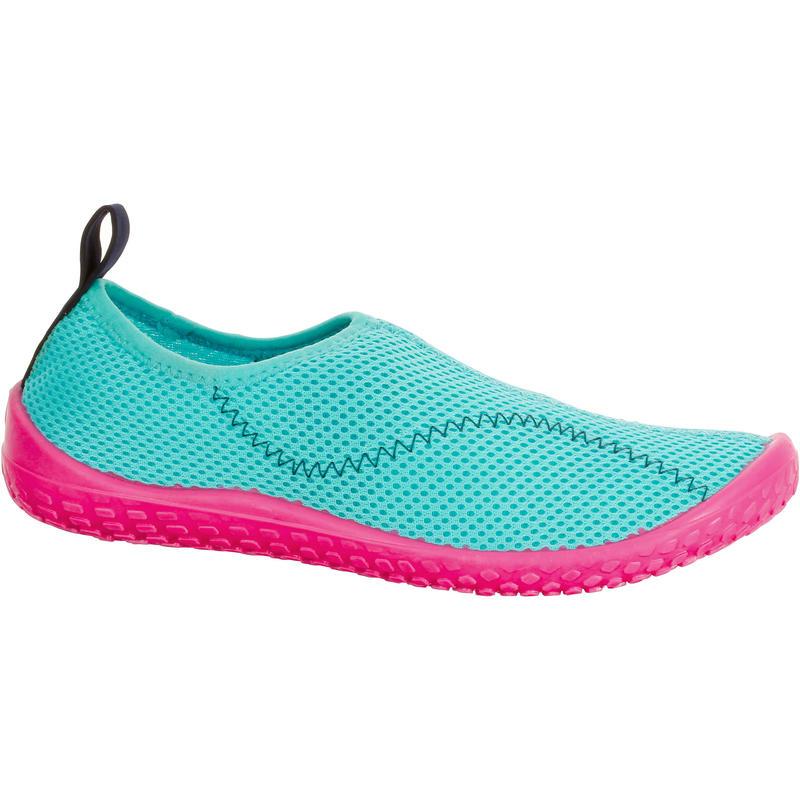 Chaussures aquatiques Aquashoes 100 enfant turquoise et rose
