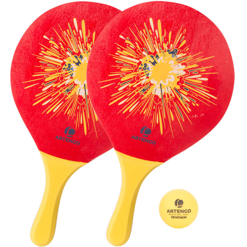 BEACH TENNIS Other Racket Sports - Woody Racket Set - Red ARTENGO - Other Racket Sports