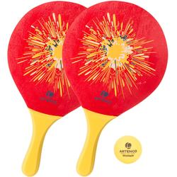 Set raquetas tenis playa woody rackets rojo