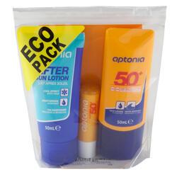 Set zonbescherming: zonnebrandcrème SPF50+ - lippenbalsem SPF50+ - aftersun