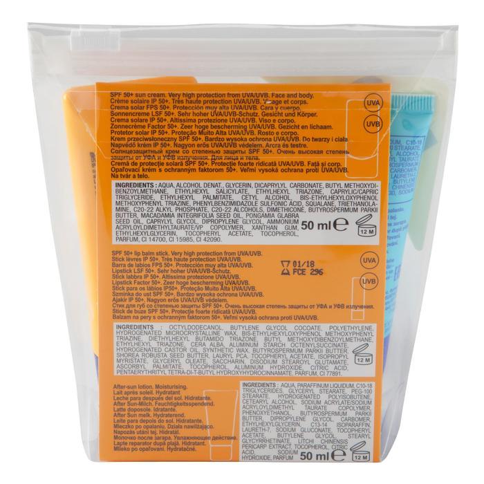 Kit de protection solaire : crème IP50+ - stick lèvres IP50+ - lait après soleil - 1056771