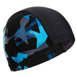 MESH BLOCK PRINT SWIM CAP SIZE L CN* - BLACK/BLUE
