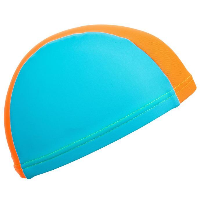 Stoffen badmuts voor baby's blauw/oranje