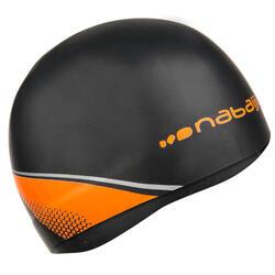 Gegoten siliconen badmuts zwart/oranje