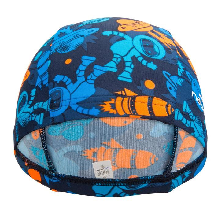 Stoffen badmuts met print maat S Allastro blauw/oranje