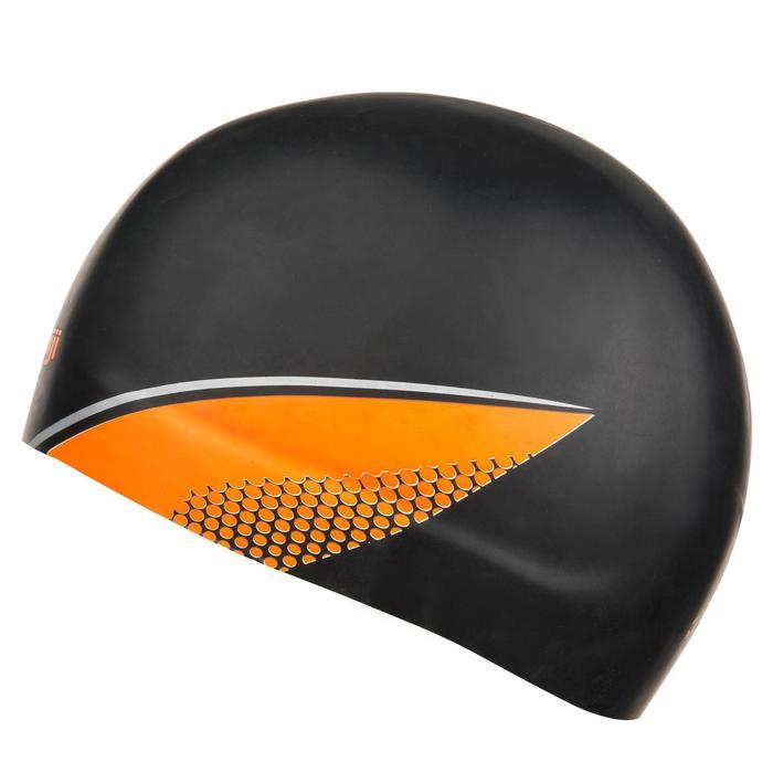 Gorro de natación de SILICONA MOLDEADA Negro Naranja