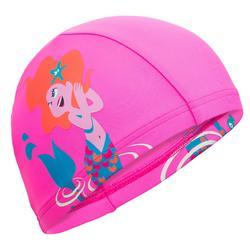 網格印花泳帽尺寸S 木星粉紅色