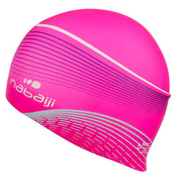 swim cap silicone with volume for long hair- printed white pink