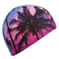 Stoffen badmuts met print maat L Sunrise roze/paars