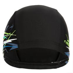 Mesh Print Swim Cap Size L - Tina Black Green *CN