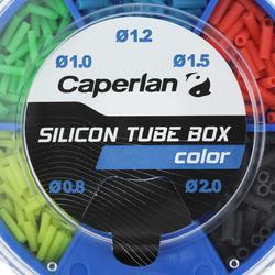Set vissen met vaste stok doos gekleurde siliconen sleeves