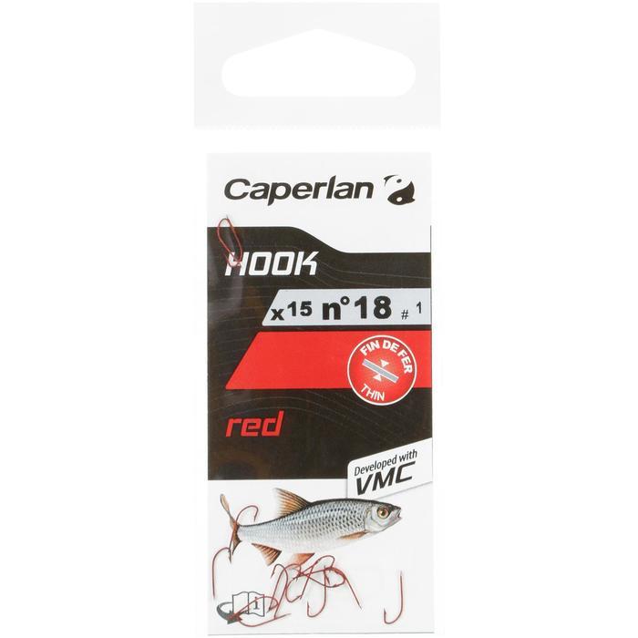 Enkele haak rood Caperlan voor vissen met de vaste lijn
