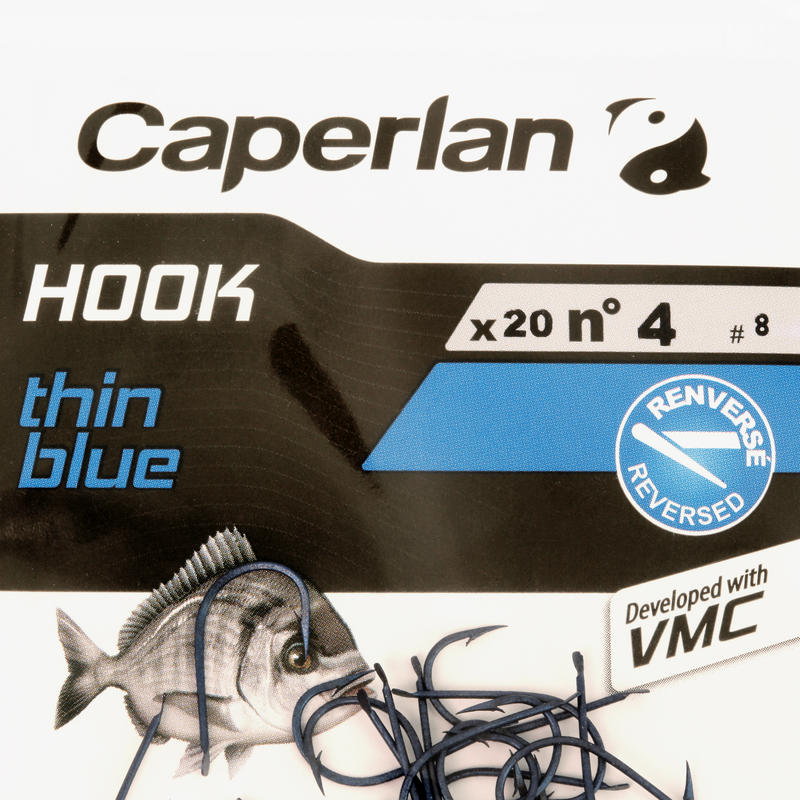THIN BLUE spade-end hook for sea fishing