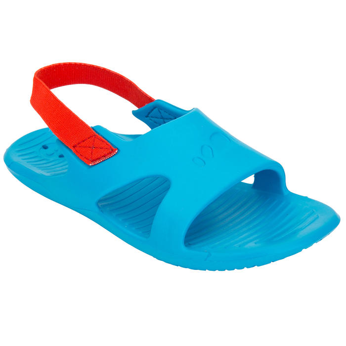 Badslippers voor zwemsport jongens Slap 100 blauw/rood