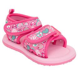 Badslippers Picola kinderen roze hartjes